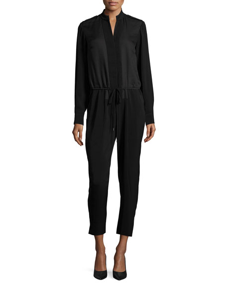Halston HeritageLong-Sleeve Drawstring-Waist Jumpsuit, Black
