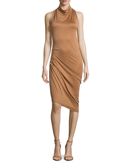Halston Heritage Sleeveless Side-Ruched Dress, Rust