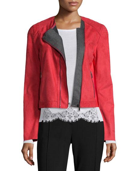 Elie Tahari Luana Suede Jacket with Bonded Jersey Detail