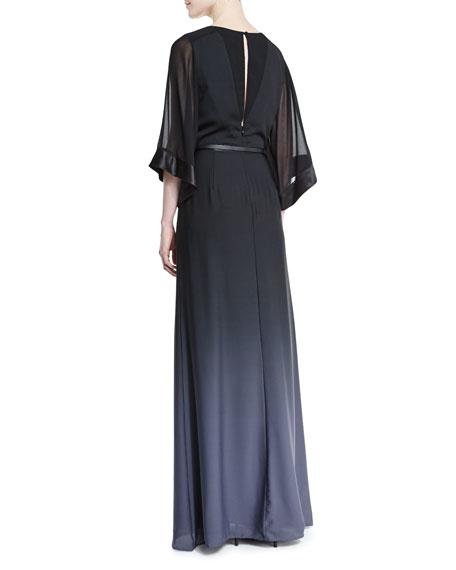Half-Sleeve Belted Ombre Gown, Black/Asphalt