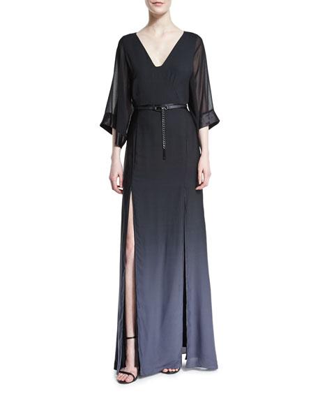 Halston Heritage Half-Sleeve Belted Ombre Gown, Black/Asphalt