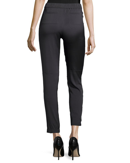 Slim-Leg Pull-On Pants, Charcoal