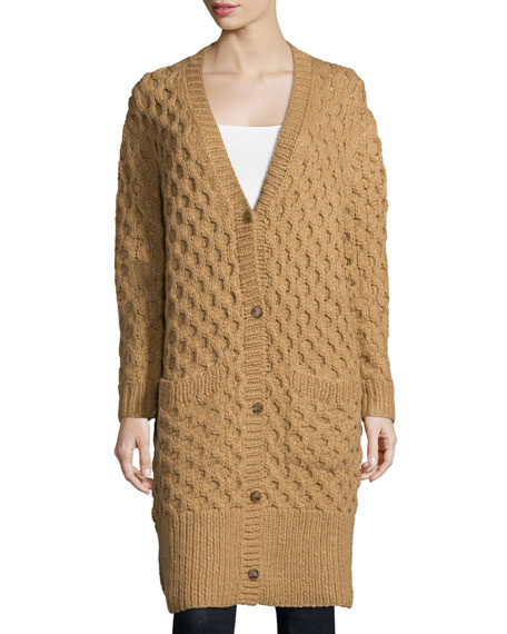 Button-Front Textured Long Cardigan, Fawn