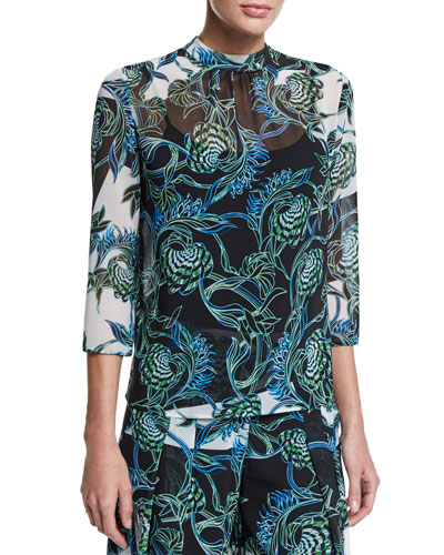 Ikebana-Print High-Collar Blouse