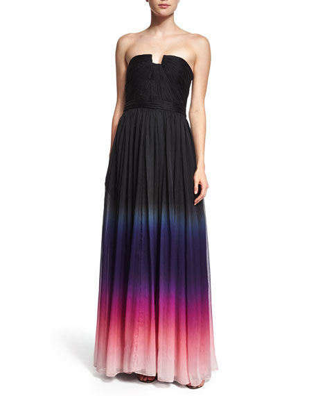 Halston Heritage Strapless Ombre Gown, Orchid