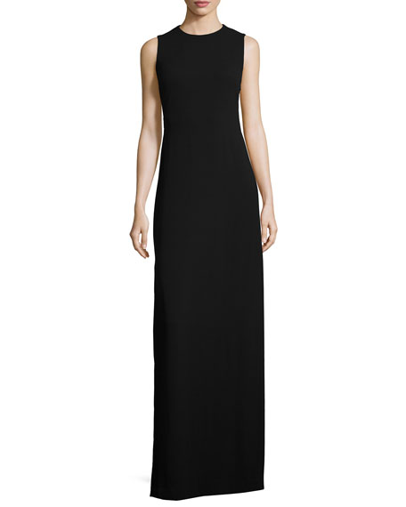 Halston Heritage Sleeveless Back-Slash Gown, Black