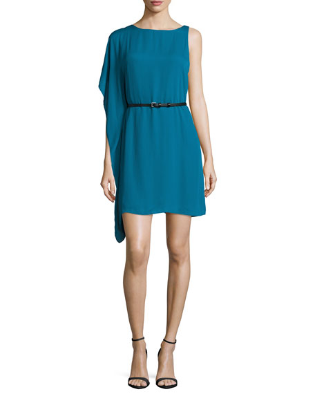 Halston Heritage Bateau-Neck Flutter-Sleeve Belted Dress, Atlantic