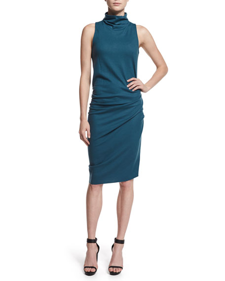 Halston Heritage Sleeveless Ruched Turtleneck Dress, Star Gazer