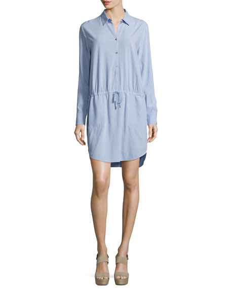 Halston Heritage Long-Sleeve Drawstring-Waist Shirtdress, Sky