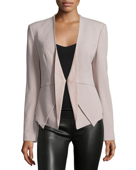 Open-Front Blazer W/Leather Inset, Stone