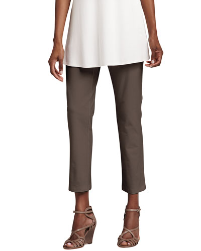 Washable Stretch-Crepe Ankle Pants, Petite