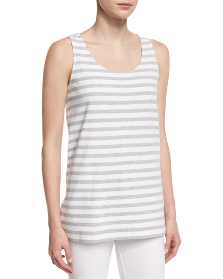 Joan Vass Striped Long Cotton Shell, Petite