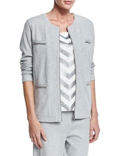 Joan Vass Four-Pocket Interlock Jacket, Women's