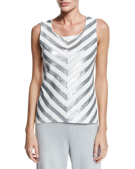 Joan Vass Chevron Sequined Shell, Plus Size