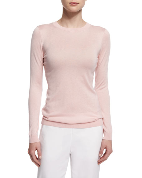 Magaschoni Long-Sleeve Silk-Cashmere Knit Top