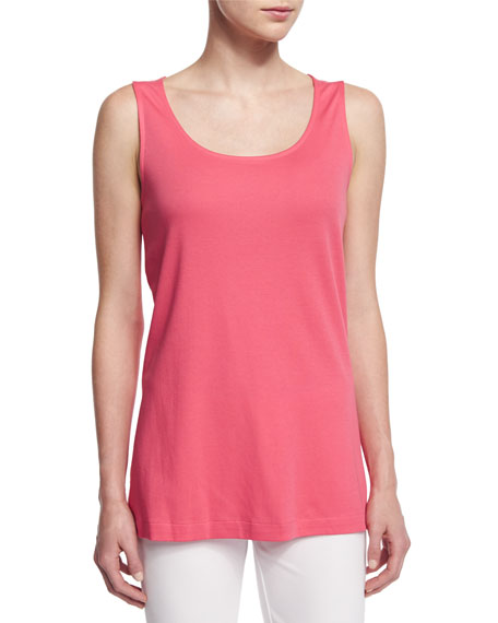 Joan Vass Scoop-Neck A-line Tank, Strawberry, Plus Size