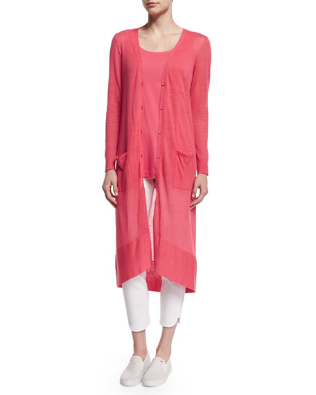 Joan Vass Long Sheer Button-Front Cardigan, Strawberry, Petite