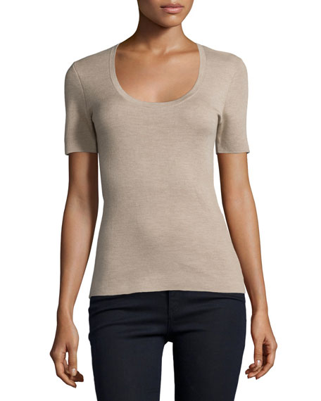 Michael Kors Short-Sleeve Cashmere Top, Bison