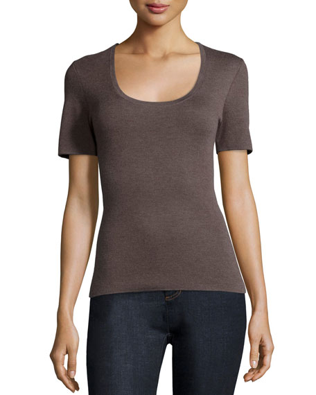 Michael Kors Collection Short-Sleeve Cashmere Top, Chestnut