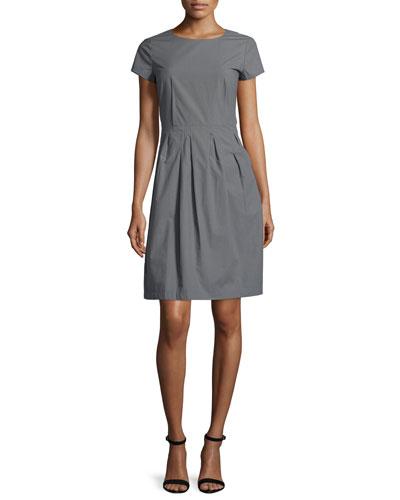 Gina Short-Sleeve Pleated Dress, Rock
