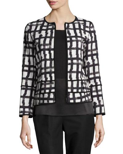 Aisha Grid-Print Jacket, White/Multi