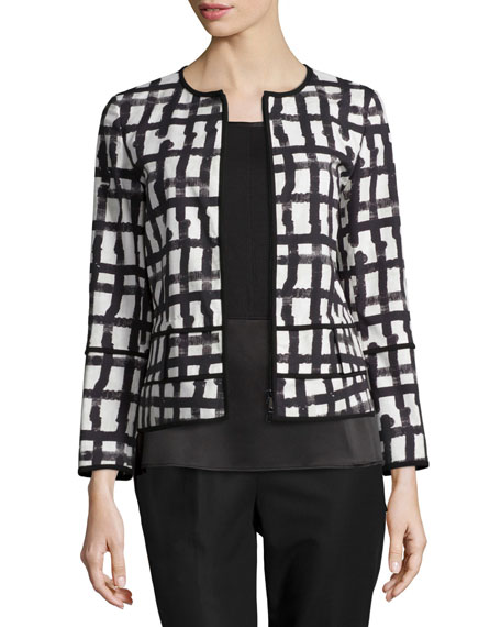 Lafayette 148 New York Aisha Grid-Print Jacket, White/Multi