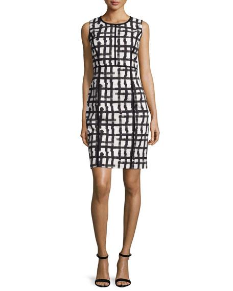 Lafayette 148 New York Mariana Grid-Print Sheath Dress, White/Multi