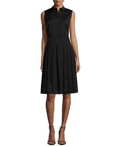 Sade Sleeveless Shirtdress, Black