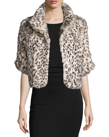 Snow Leopard-Print Fur Jacket