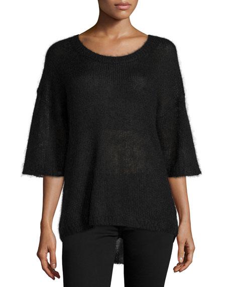 Halston Heritage Mohair Half-Sleeve Sweater, Black
