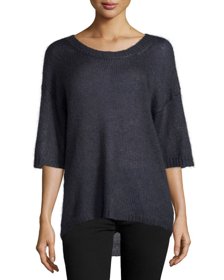 Halston Heritage Mohair Half-Sleeve Sweater, Graphite