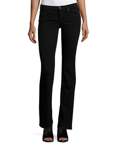 Mid-Rise Boot-Cut Jeans, Black Coal