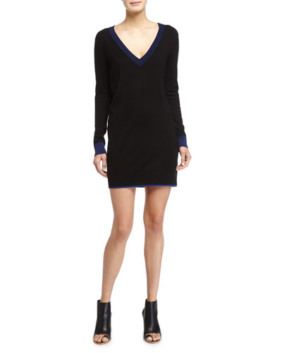 Kendra Long-Sleeve Sweaterdress, Black
