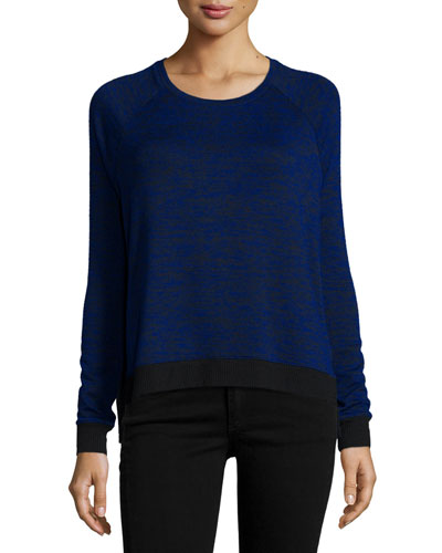 Camden Long-Sleeve Two-Tone T-Shirt, Electric Blue