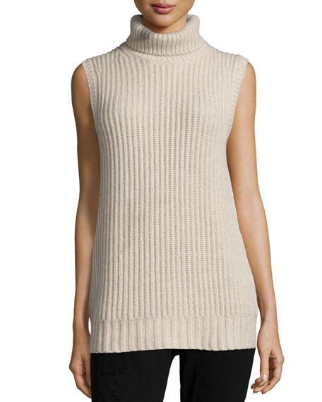 Michael Kors Collection Sleeveless Turtleneck Cashmere Sweater, Oatmeal