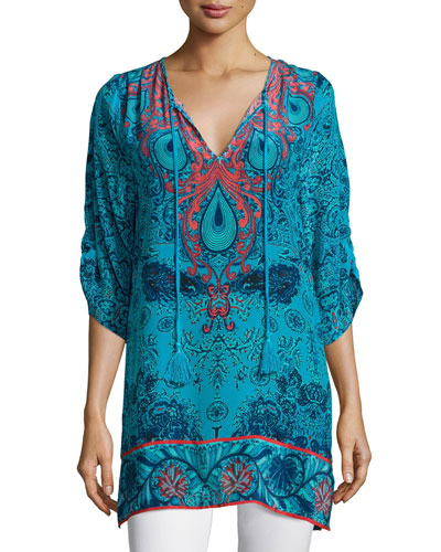Teardrop-Print Silk Tunic, Women's
