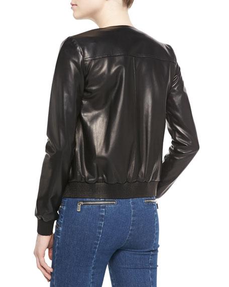 Michael Kors Rib Trim Leather Bomber Jacket Neiman Marcus