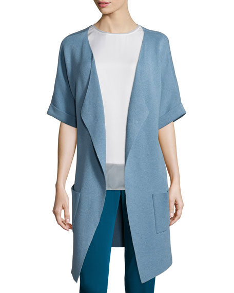 Unfinished-Hem Kimono Topper Jacket