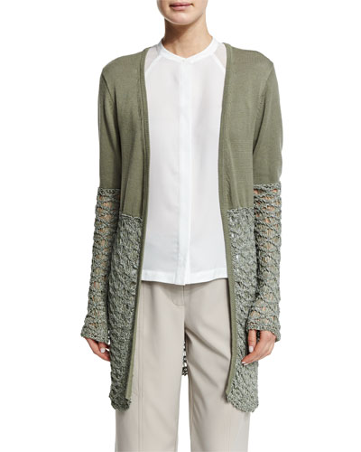 Textured-Block Duster Cardigan