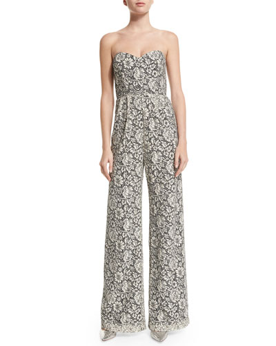 Cay Wide-Leg Lace Jumpsuit, Ivory