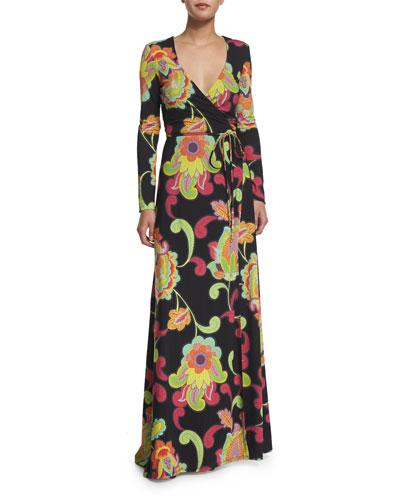 Long-Sleeve Wrap Maxi Dress, Multi Colors