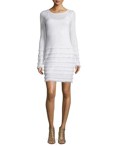 Trina Turk Long-Sleeve Sheath Dress W/Fringe, Ivory