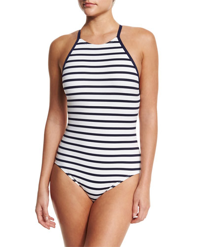 High-Neck Striped One-Piece Swimsuit
