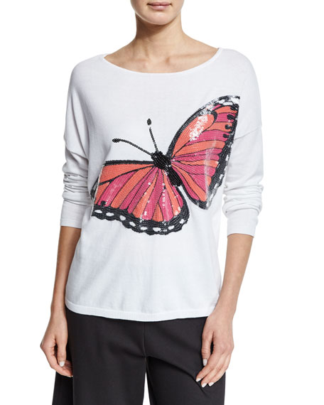 Joan Vass Long-Sleeve Sequined Butterfly Sweater, Petite
