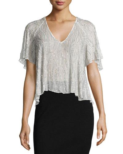 Lucas Flutter-Sleeve Embellished Top, Ivory