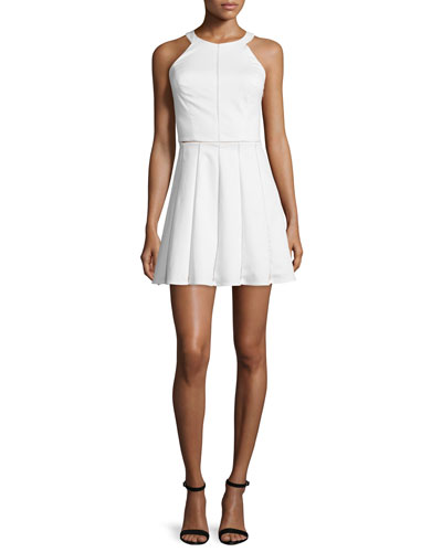 Parker Phillip Sleeveless Fit-&-Flare Dress, Ivory