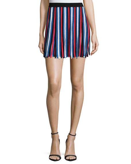 Parker Bergen Striped Mini Skirt, Fiesta