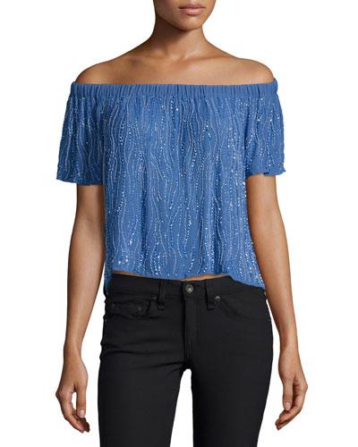 Carolina Off-The-Shoulder Top, Blue