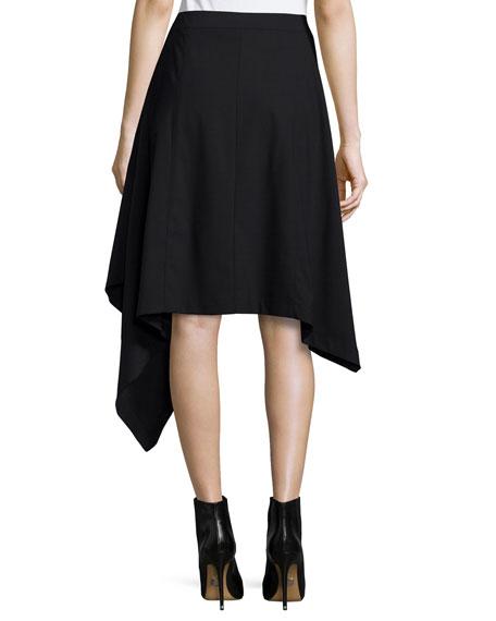 Asymmetric-Hem Blanket Skirt, Black