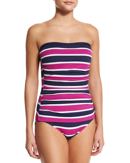 Tommy Bahama Striped Bandeau One-Piece Swimsuit